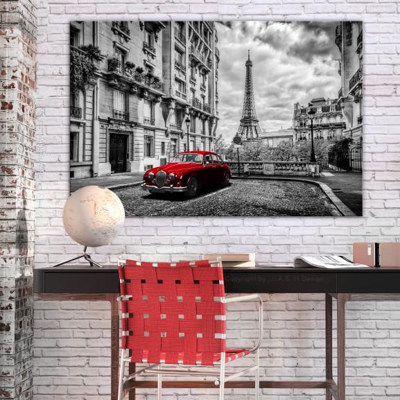 Tablou Car In Paris (1 Part) Red Wide 120 cm x 80 cm naturlich.ro