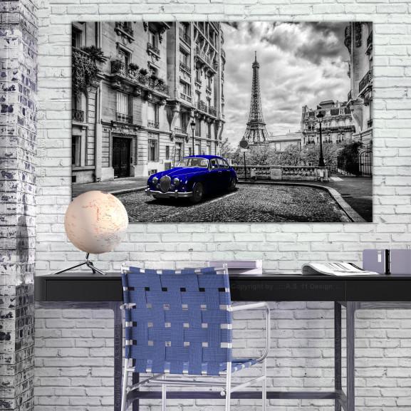 Tablou Car In Paris (1 Part) Blue Wide 120 cm x 80 cm naturlich.ro