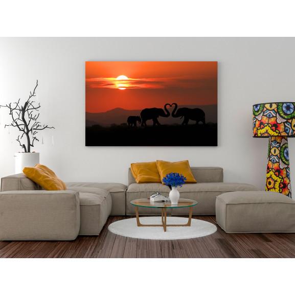 Tablou Elephants In Love (1 Part) Wide 120 cm x 80 cm naturlich.ro