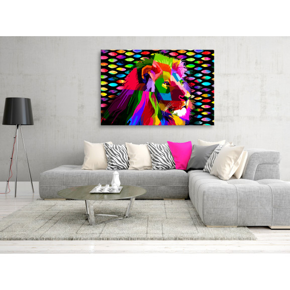 Tablou Rainbow Lion (1 Part) Wide 120 cm x 80 cm naturlich.ro