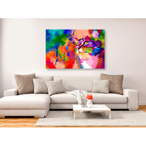 Tablou Colourful Cat (1 Part) Wide 120 cm x 80 cm naturlich.ro