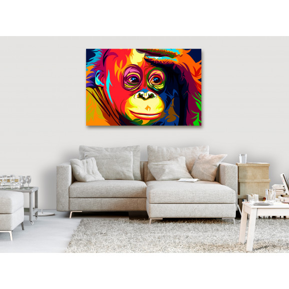 Tablou Colourful Orangutan (1 Part) Wide 120 cm x 80 cm naturlich.ro