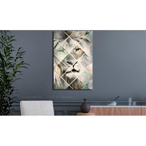 Tablou Lion On The Chessboard (1 Part) Vertical 40 cm x 60 cm naturlich.ro