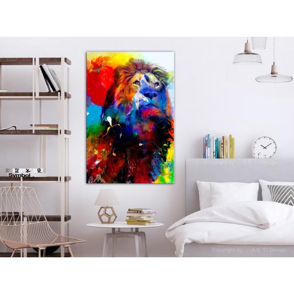 Tablou Lion And Watercolours (1 Part) Vertical 40 cm x 60 cm naturlich.ro