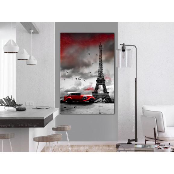 Tablou Red Car In Paris (1 Part) Vertical 40 cm x 60 cm naturlich.ro