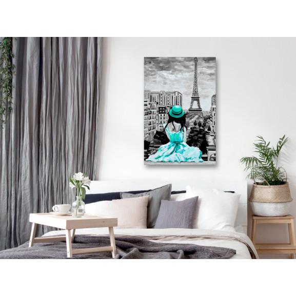 Tablou Paris Colour (1 Part) Vertical Green 40 cm x 60 cm naturlich.ro