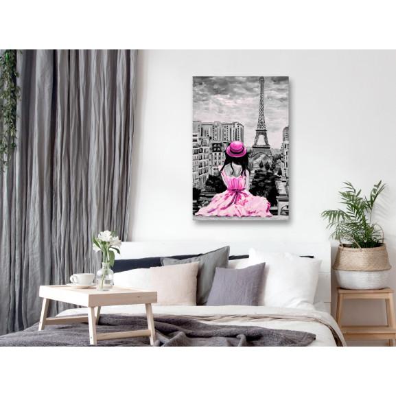 Tablou Paris Colour (1 Part) Vertical Pink 40 cm x 60 cm naturlich.ro