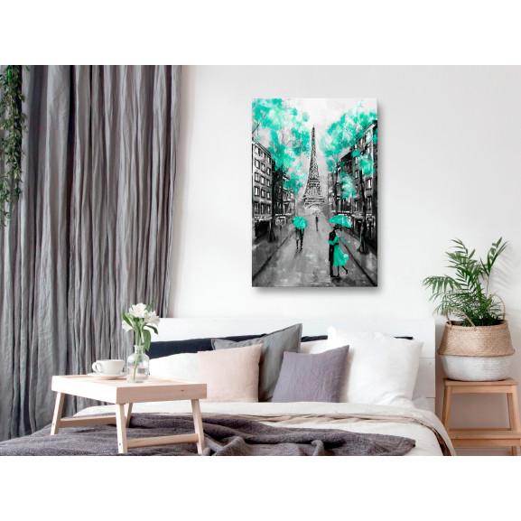 Tablou Paris Rendez-Vous (1 Part) Vertical Green 40 cm x 60 cm naturlich.ro