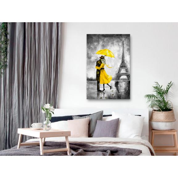 Tablou Paris Fog (1 Part) Vertical Yellow 40 cm x 60 cm naturlich.ro