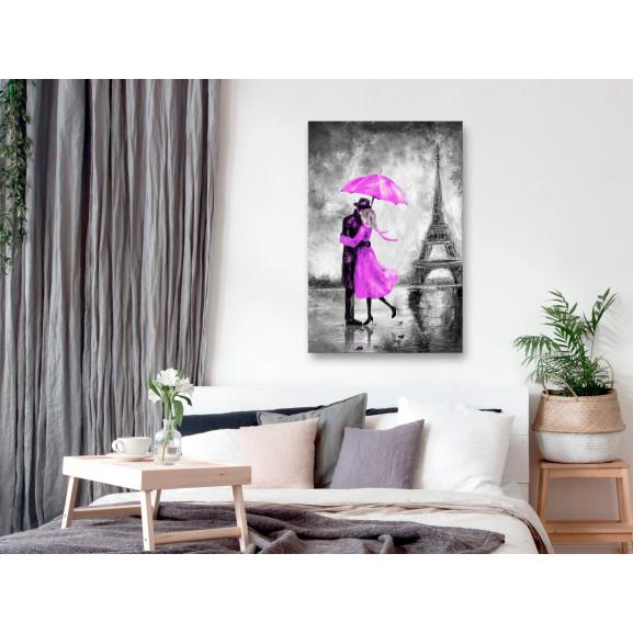 Tablou Paris Fog (1 Part) Vertical Pink 40 cm x 60 cm naturlich.ro