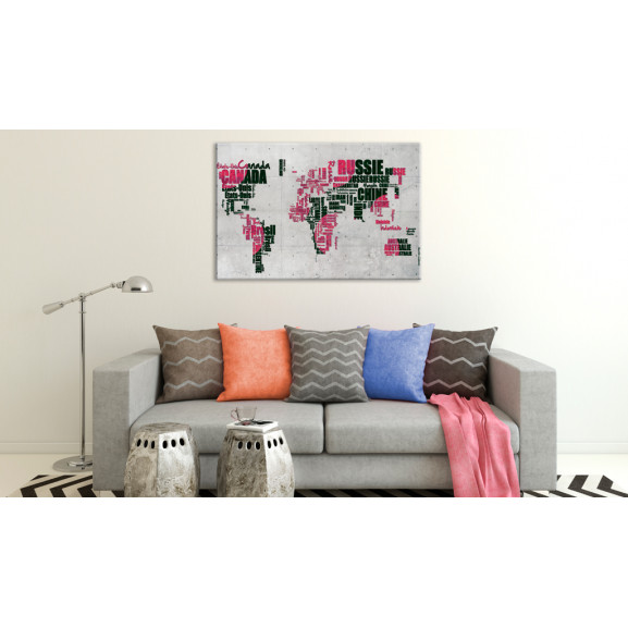 Tablou World Map: The French Connection (Fr) 120 cm x 80 cm naturlich.ro