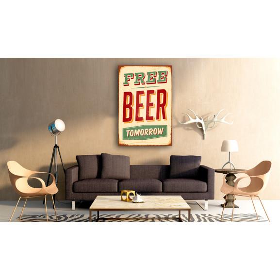 Tablou Free Beer Tomorrow 40 cm x 60 cm naturlich.ro