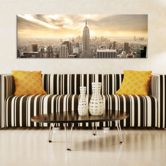 Tablou New York City Among The Clouds 120 cm x 40 cm naturlich.ro