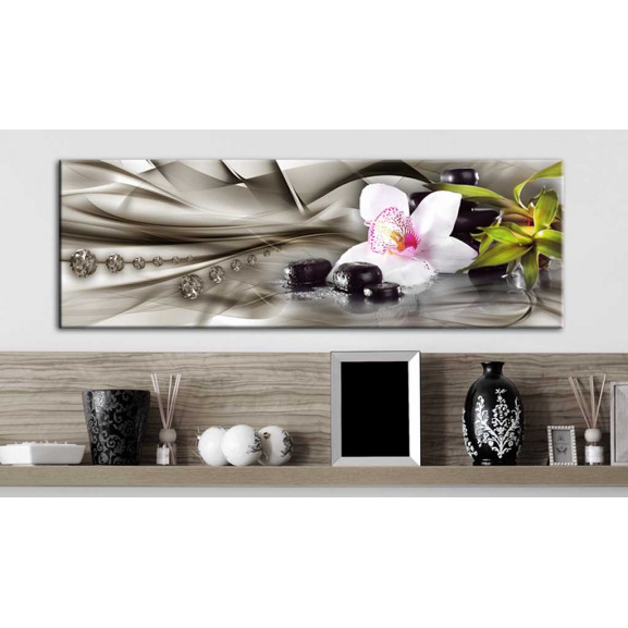 Tablou Zen Composition: Orchid, Bamboo And Stones 120 cm x 40 cm naturlich.ro