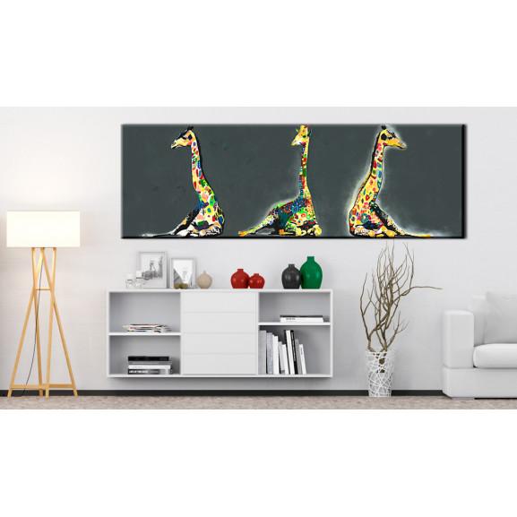 Tablou Colourful Giraffes 120 cm x 40 cm naturlich.ro