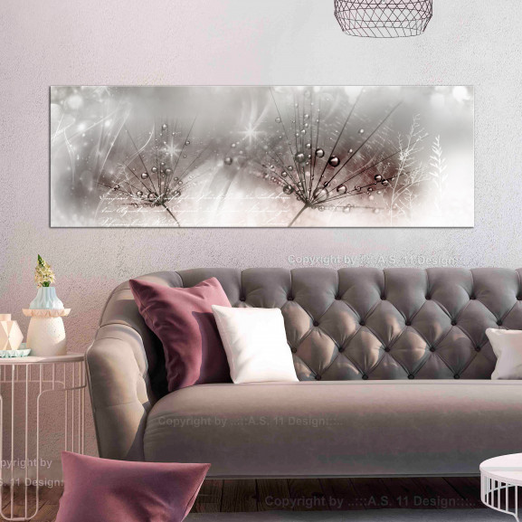 Tablou Drops Of Dew (1 Part) Pink Narrow 120 cm x 40 cm naturlich.ro