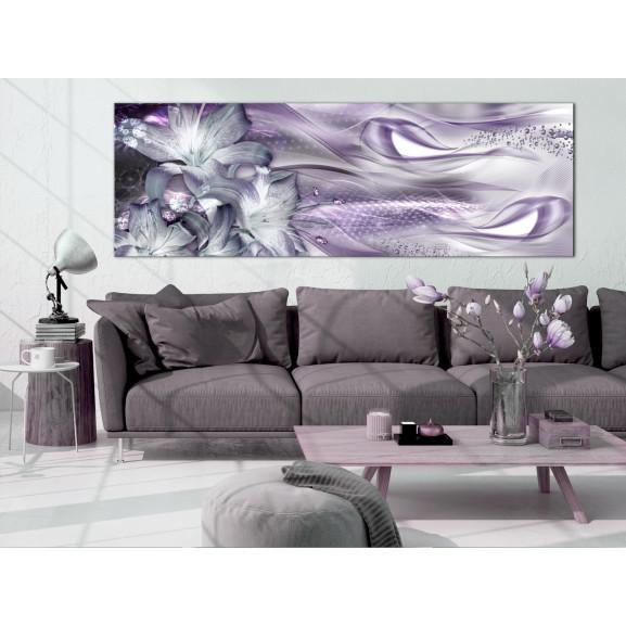 Tablou Lilies And Waves (1 Part) Narrow Pale Violet 120 cm x 40 cm naturlich.ro