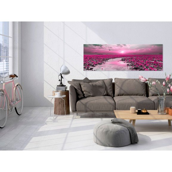 Tablou Lilies And Sunset (1 Part) Narrow 120 cm x 40 cm naturlich.ro