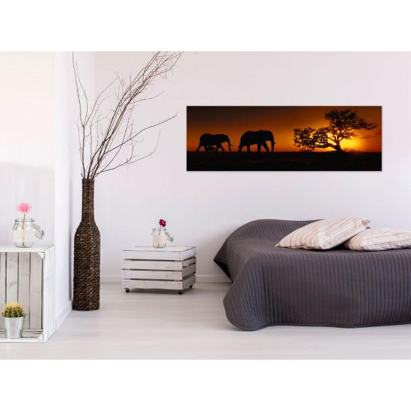 Tablou Elephant Family (Orange) 120 cm x 40 cm naturlich.ro