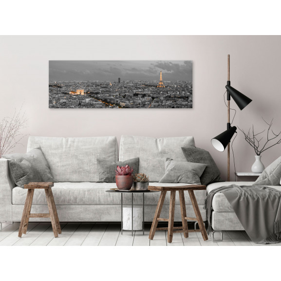 Tablou Panorama Of Paris (1 Part) Narrow 120 cm x 40 cm naturlich.ro