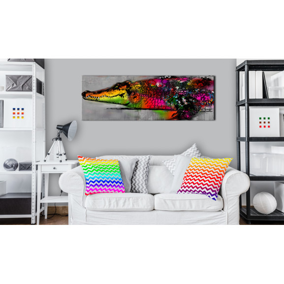 Tablou Colourful Alligator 120 cm x 40 cm naturlich.ro