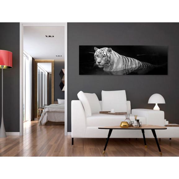 Tablou Shining Tiger (1 Part) Black And White Narrow 120 cm x 40 cm naturlich.ro