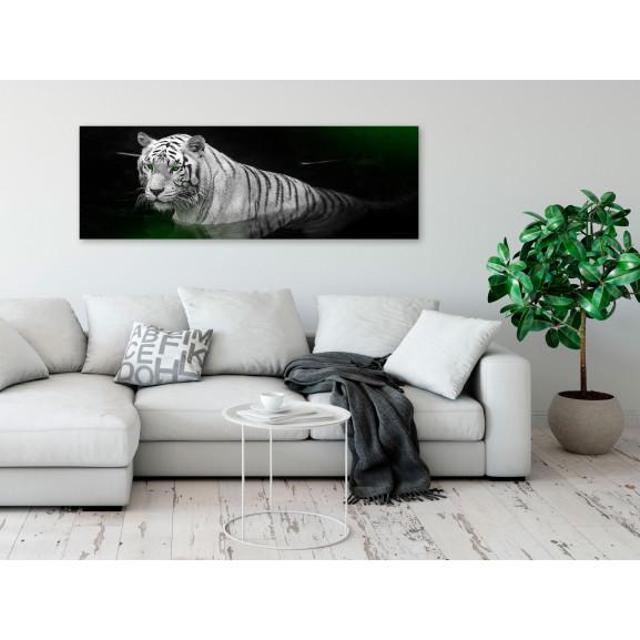 Tablou Shining Tiger (1 Part) Green Narrow 120 cm x 40 cm naturlich.ro