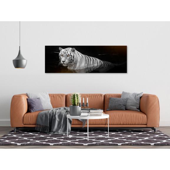 Tablou Shining Tiger (1 Part) Orange Narrow 120 cm x 40 cm naturlich.ro