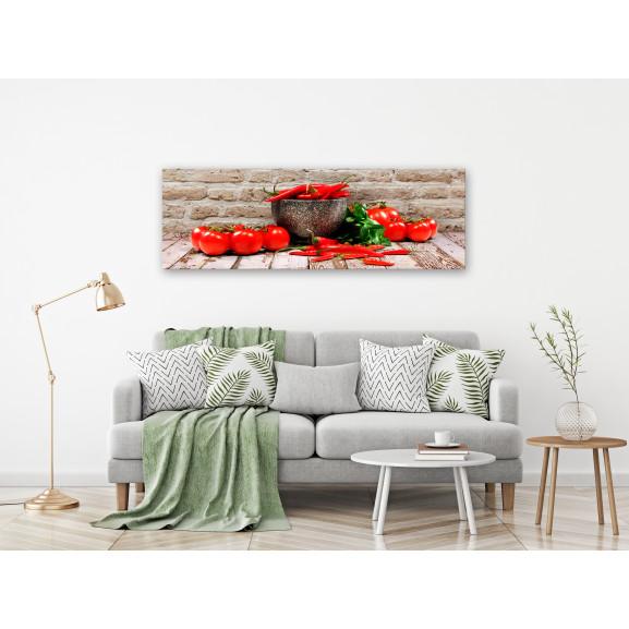Tablou Red Vegetables (1 Part) Brick Narrow 120 cm x 40 cm naturlich.ro