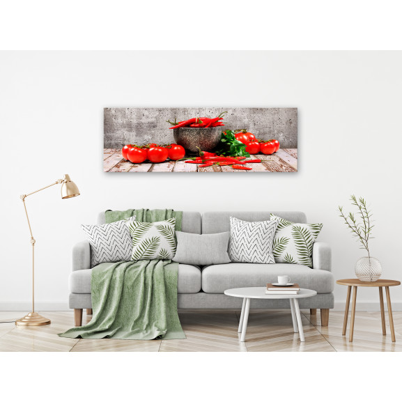 Tablou Red Vegetables (1 Part) Concrete Narrow 120 cm x 40 cm naturlich.ro