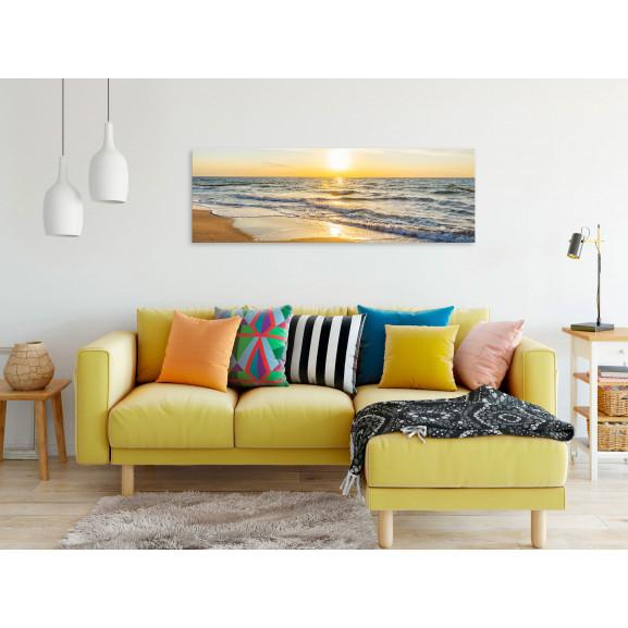 Tablou Calm Waves (1 Part) Narrow Golden 120 cm x 40 cm naturlich.ro
