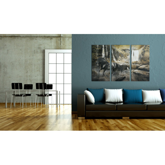 Tablou Black Horse And Rocky Waterfall 120 cm x 80 cm naturlich.ro