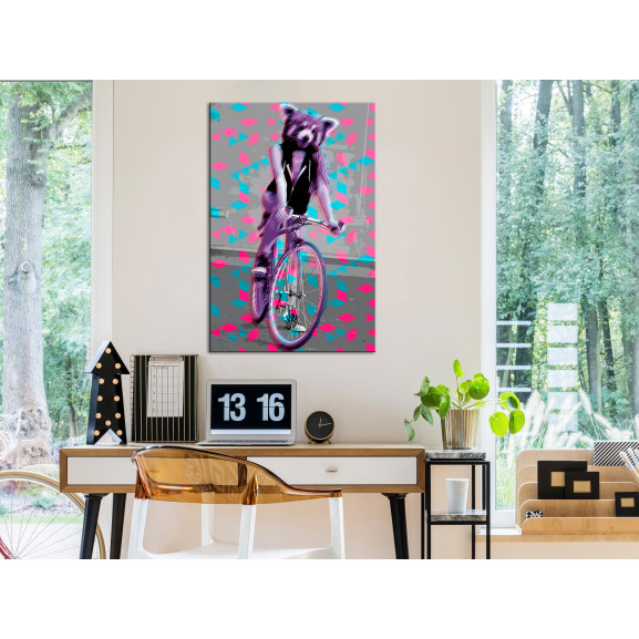 Tablou Raccoon On The Bike (1 Part) Vertical 40 cm x 60 cm naturlich.ro