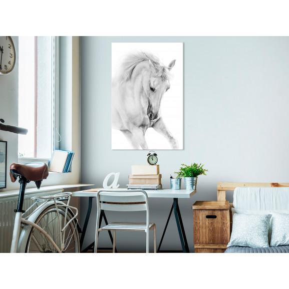 Tablou White Horse (1 Part) Vertical 40 cm x 60 cm naturlich.ro