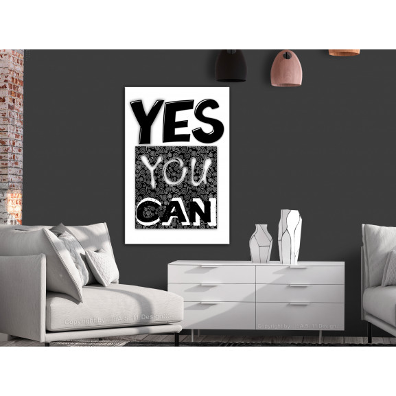 Tablou Yes You Can (1 Part) Vertical 40 cm x 60 cm naturlich.ro