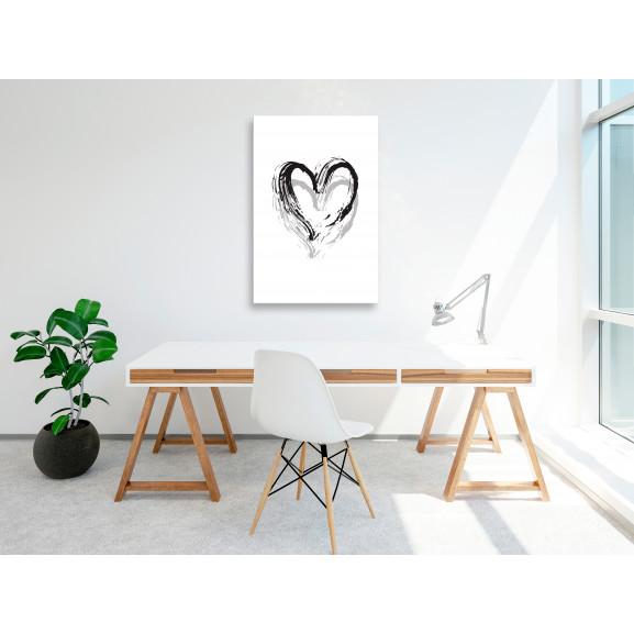 Tablou Brush Heart (1 Part) Vertical 40 cm x 60 cm naturlich.ro