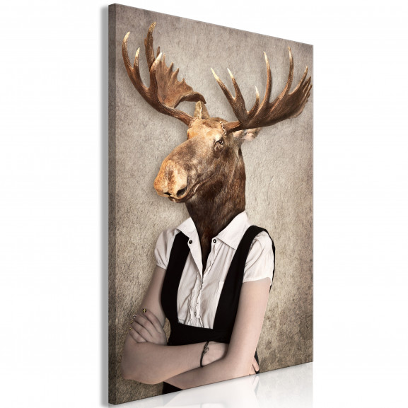 Tablou Brainy Moose (1 Part) Vertical...