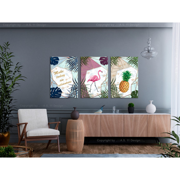 Tablou Tropical Triptych (3 Parts) 120 cm x 60 cm naturlich.ro