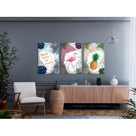 Tablou Tropical Triptych (3 Parts) 120 cm x 60 cm-01