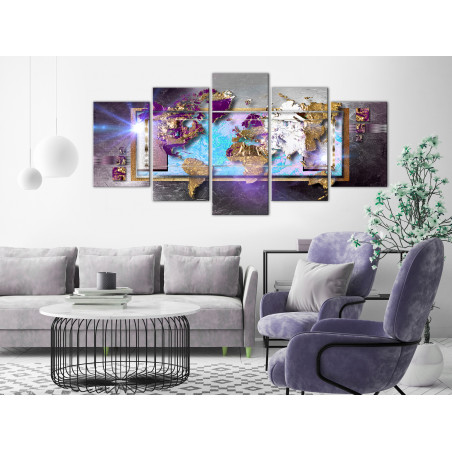 Tablou Abstract Map (5 Parts) Wide 100 cm x 50 cm-01