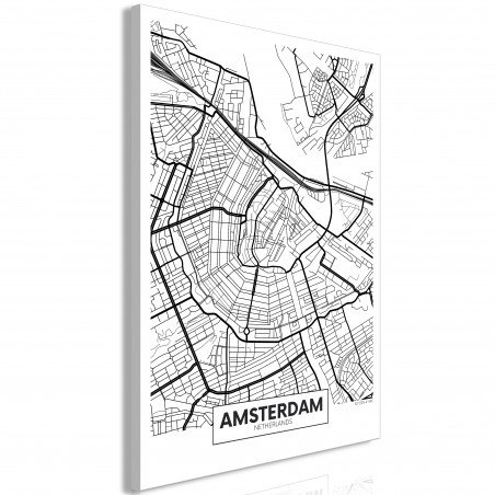 Tablou Map Of Amsterdam (1 Part) Vertical 40 cm x 60 cm-01