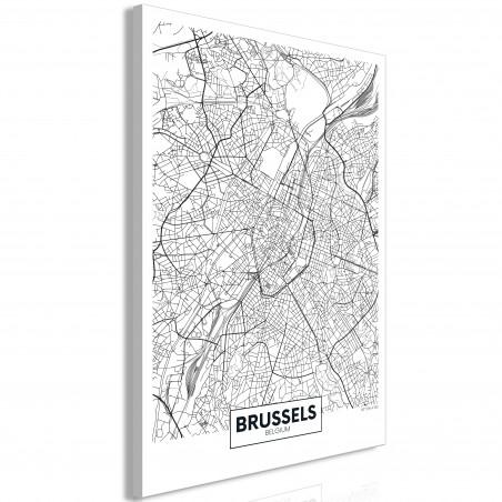 Tablou Map Of Brussels (1 Part) Vertical 40 cm x 60 cm-01