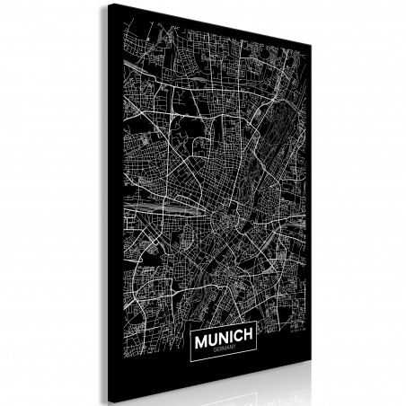 Tablou Dark Map Of Munich (1 Part) Vertical 40 cm x 60 cm-01
