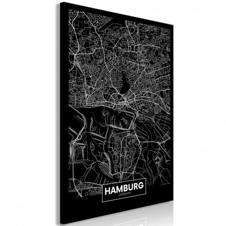 Tablou Dark Map Of Hamburg (1 Part) Vertical 40 cm x 60 cm-01