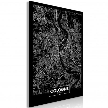 Tablou Dark Map Of Cologne (1 Part) Vertical 40 cm x 60 cm-01