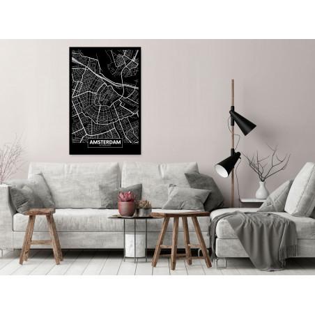 Tablou Dark Map Of Amsterdam (1 Part) Vertical 40 cm x 60 cm-01