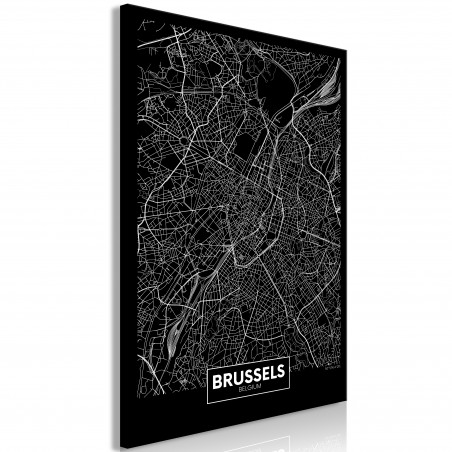 Tablou Dark Map Of Brussels (1 Part) Vertical 40 cm x 60 cm-01