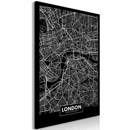 Tablou Dark Map Of London (1 Part) Vertical 40 cm x 60 cm-01
