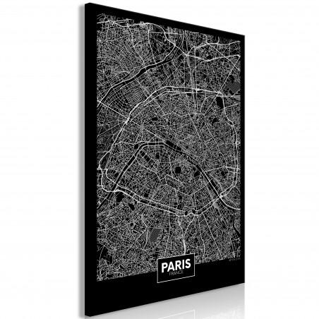 Tablou Dark Map Of Paris (1 Part) Vertical 40 cm x 60 cm-01