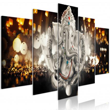 Tablou Buddha'S Philosophy (5 Parts) Silver Wide 100 cm x 50 cm-01